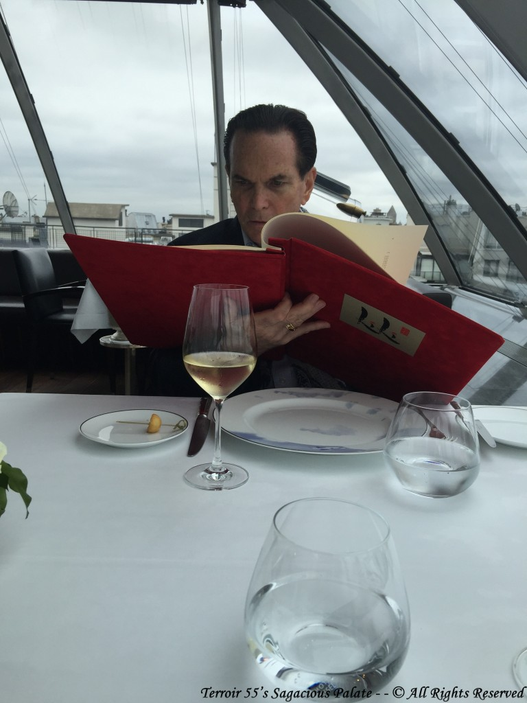 "Tony intensely studying the ""REAL"" carte de vin"