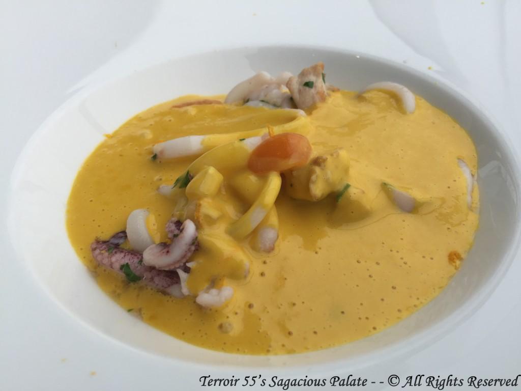 Sautéed squid and rabbit from Burgundy, Squash velouté, ground cherries Beaufort cheese