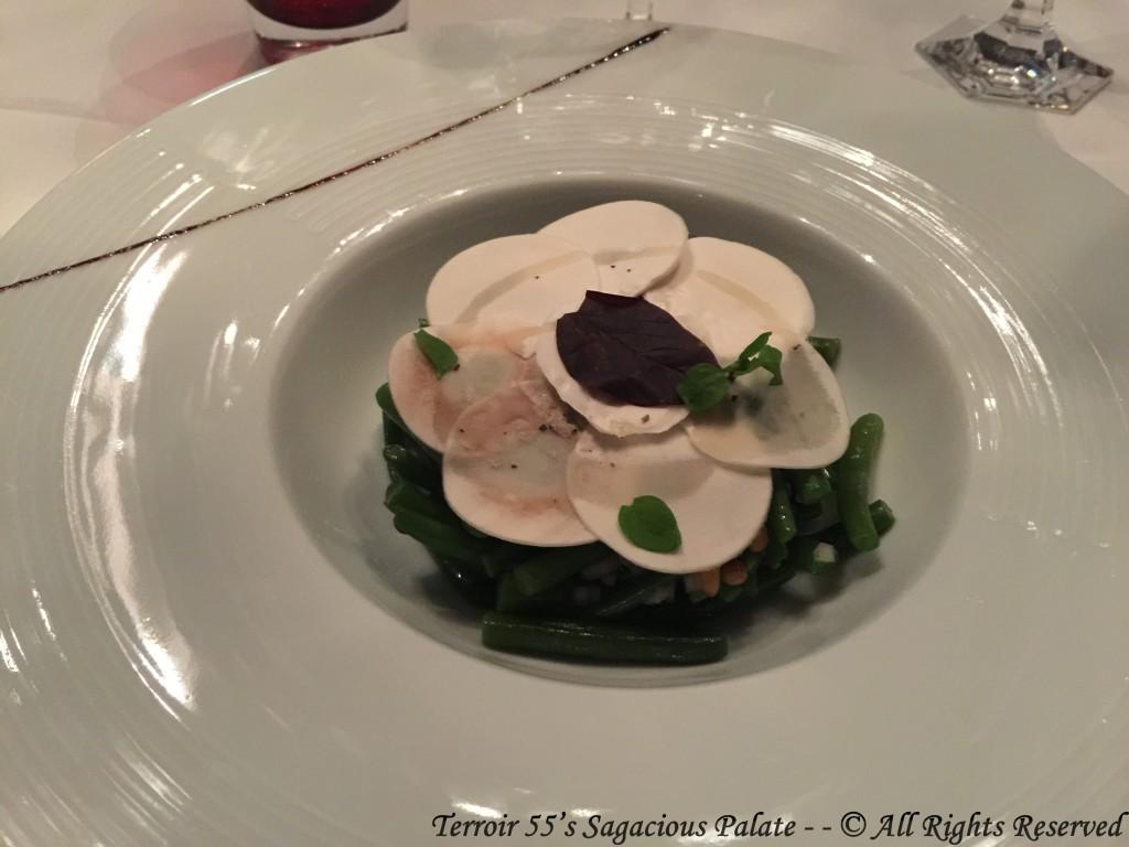 Salad de haricots verts et champignons de Paris