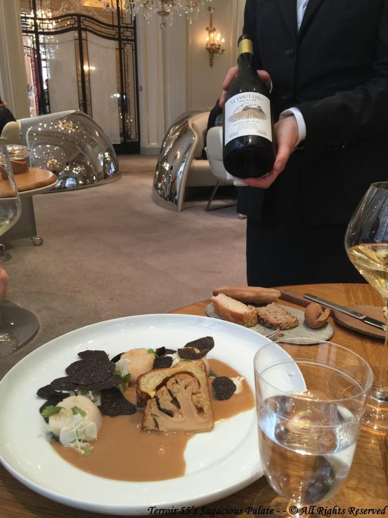 """Saint-Jacques de Chausey chou-fleur, vieux Comté, truffe noire with 2008 Vouvray demi sec, """"Le Haut Lieu"""" Domaine Huet"""