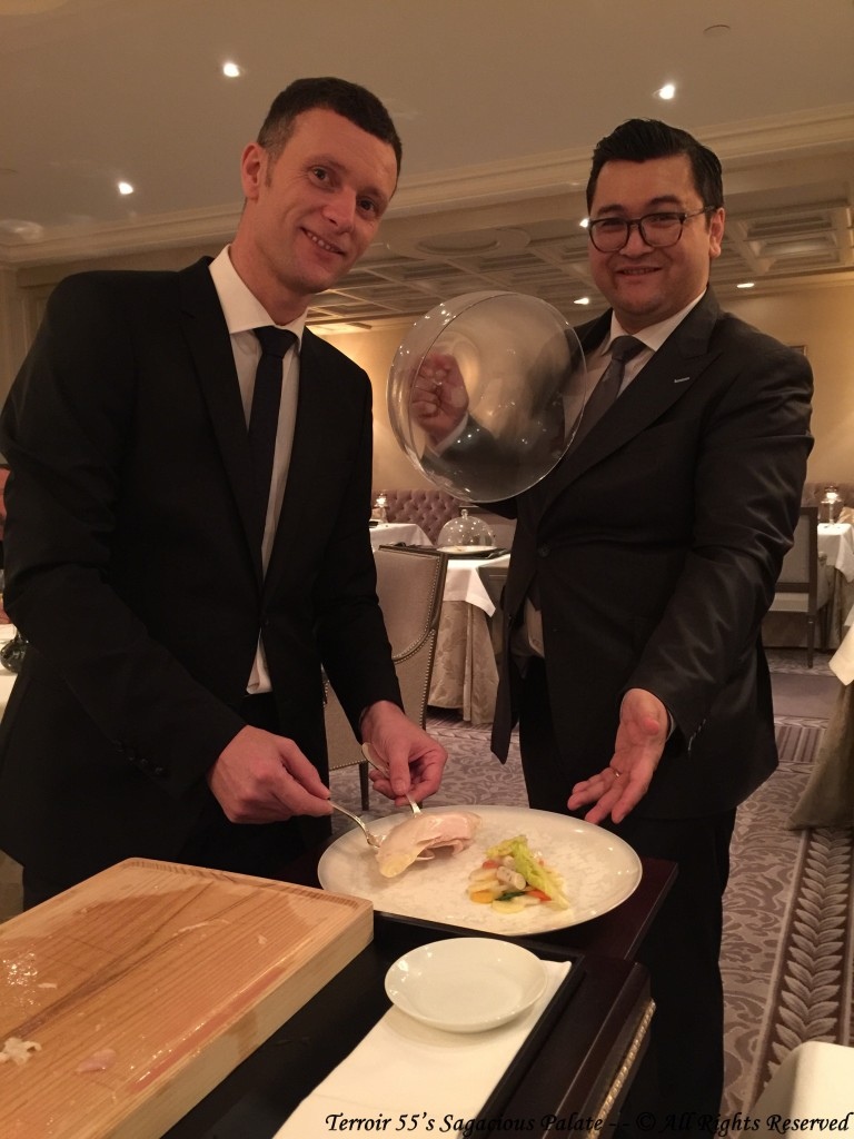 Jean-François and Alain plating the Bresse Chicken