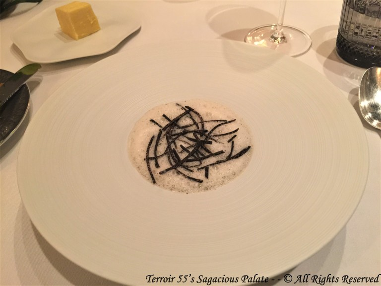 Royale of dashi, black truffle emulsion