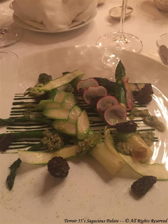 Green asparagus from Provence, Morel mushrooms stuffed with shallots, Vinaigrette made with olive oil from Cornille mill