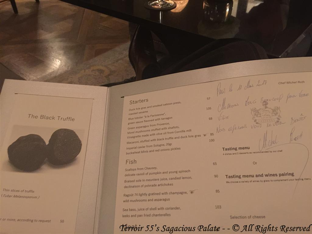 Signed Menu from Chef Michel Roth
