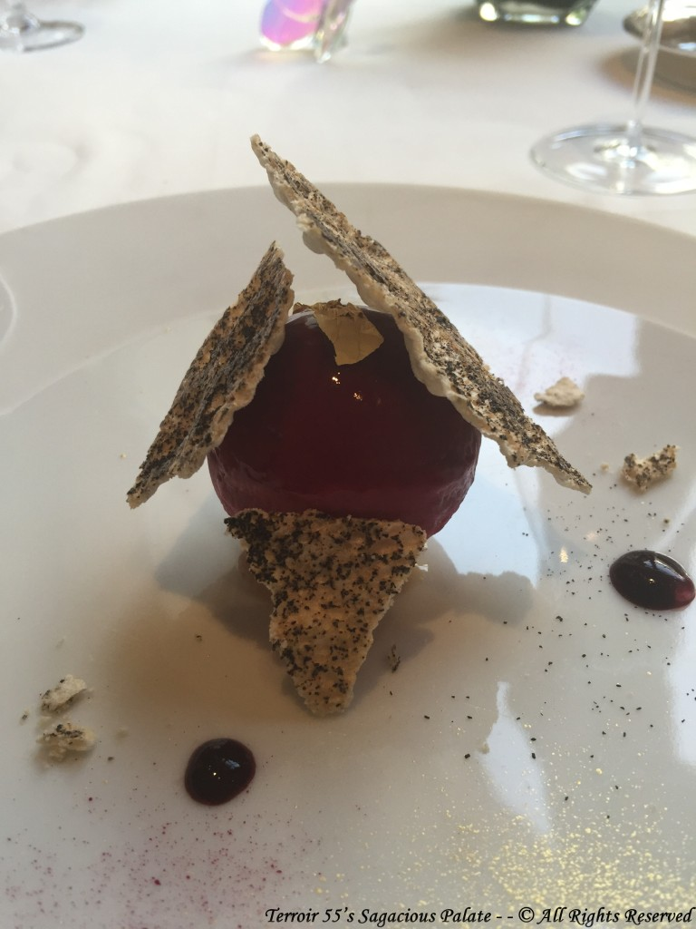 """The bergamote citrus infused with black tea, puffed meringue with hazelnuts, """"doyenne du comice"""" pear and blackberry juice"""